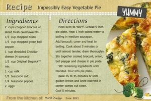 June 2021 SG Recipe Swap: Vegetables - Impossibly Easy Vegetable Pie